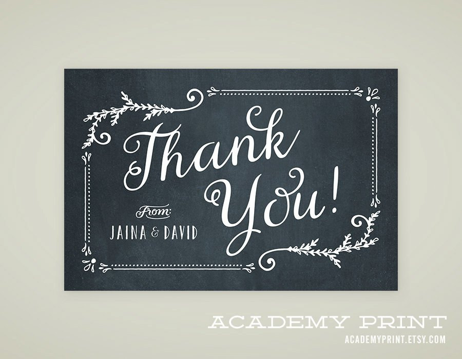new chalkboard thank you postcard example