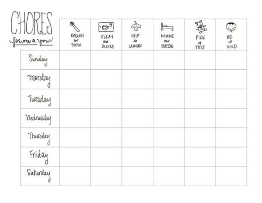 new chore chart example