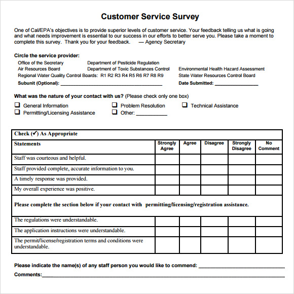 6 consumer questionnaire examples pdf for Student satisfaction questionnaire template