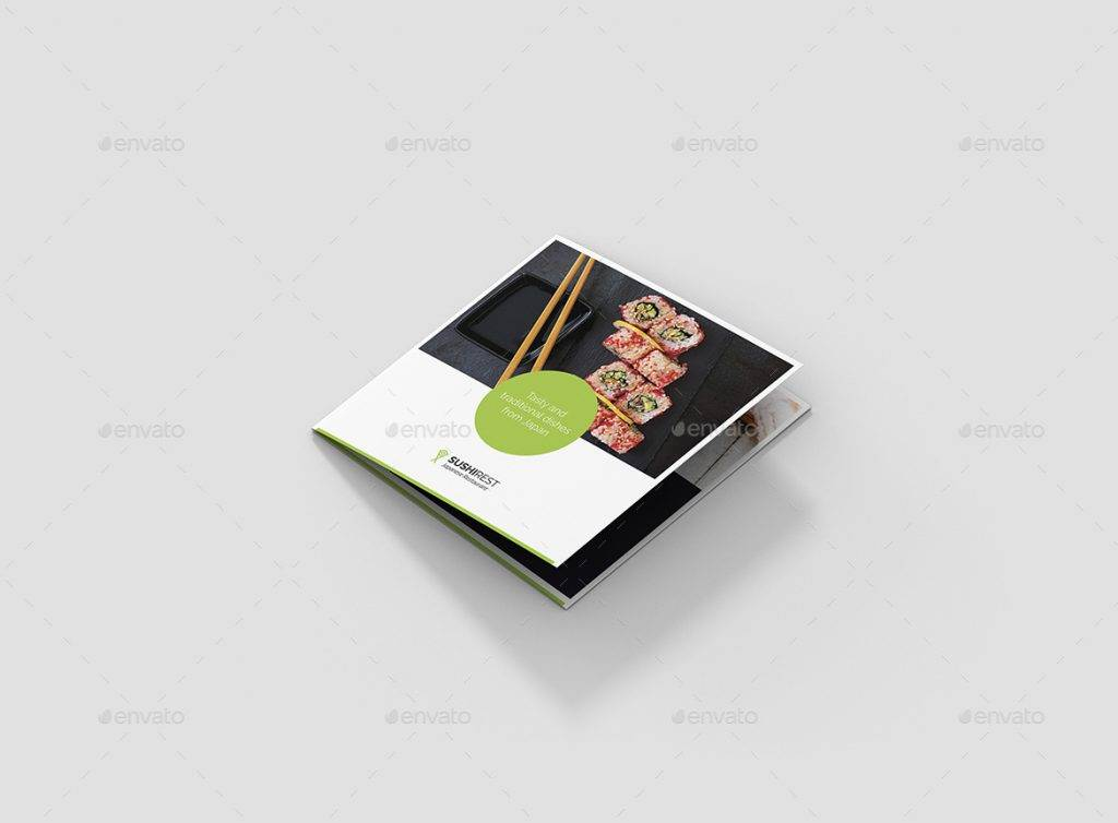 new sushi 4 fold square brochure example