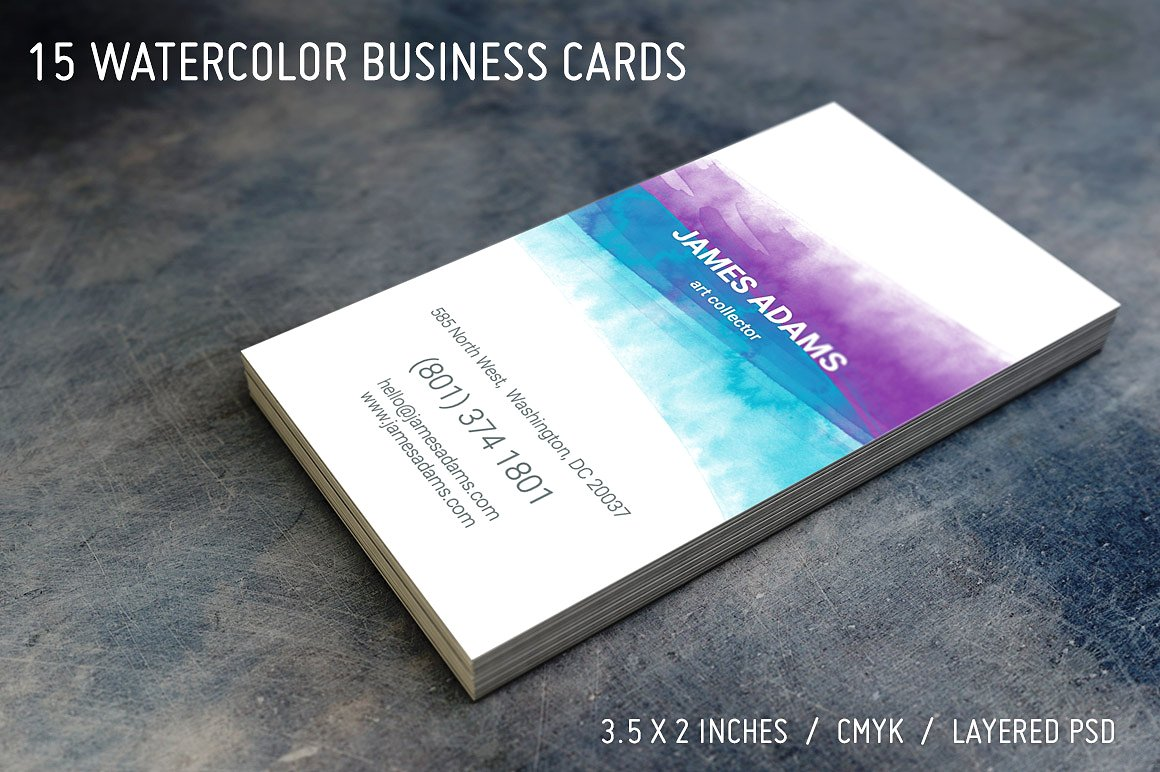 new watercolor artist business card example
