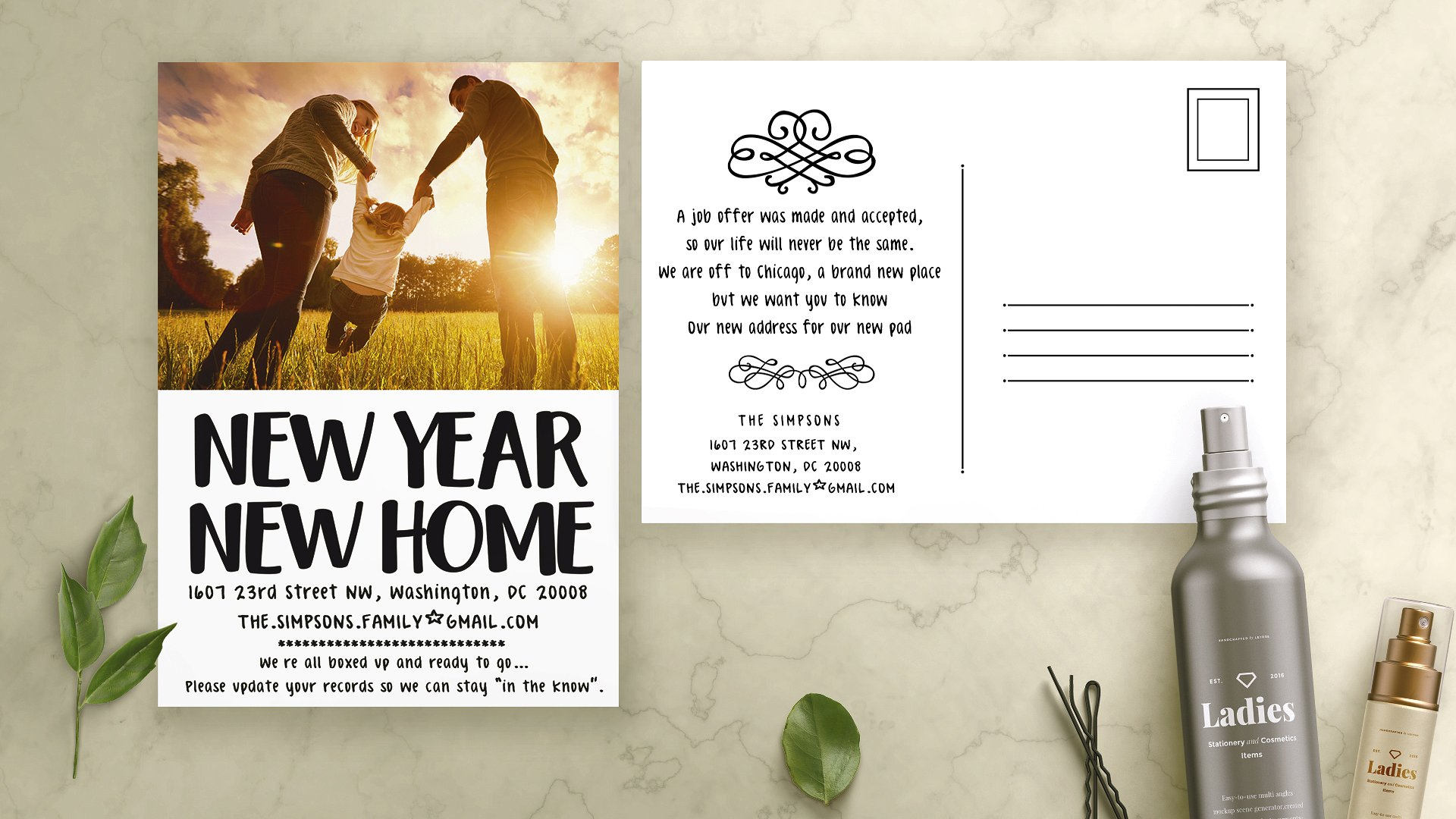 new year new address postcard example