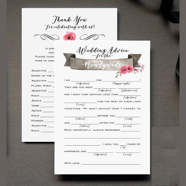newly weds comment card example