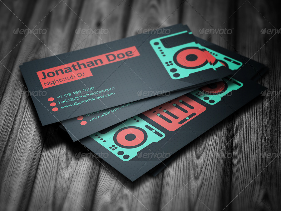nightclub dj business card