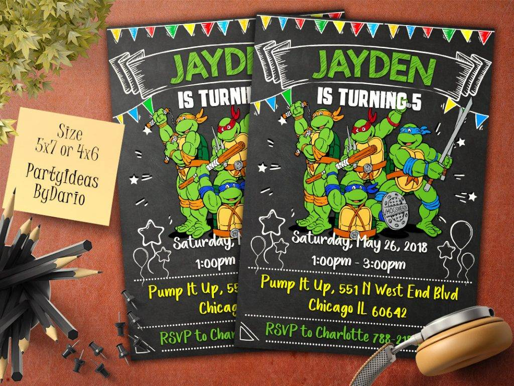 ninja turtles invitation example