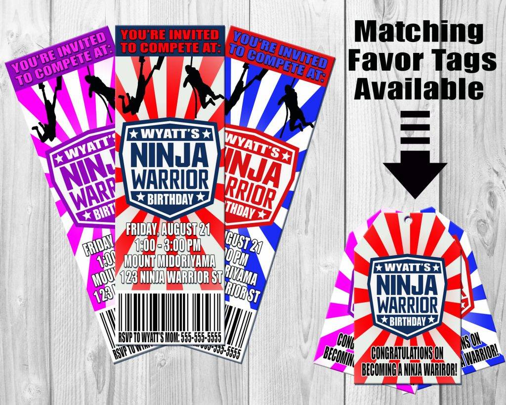 ninja warrior birthday invitation example