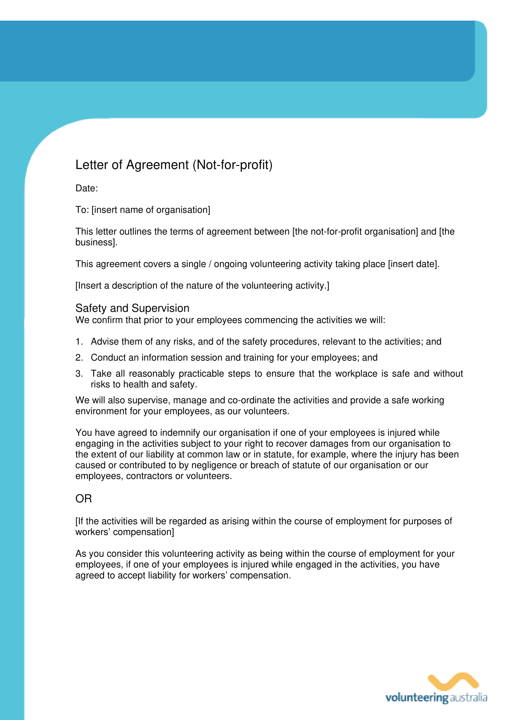 non profit agreement letter template example