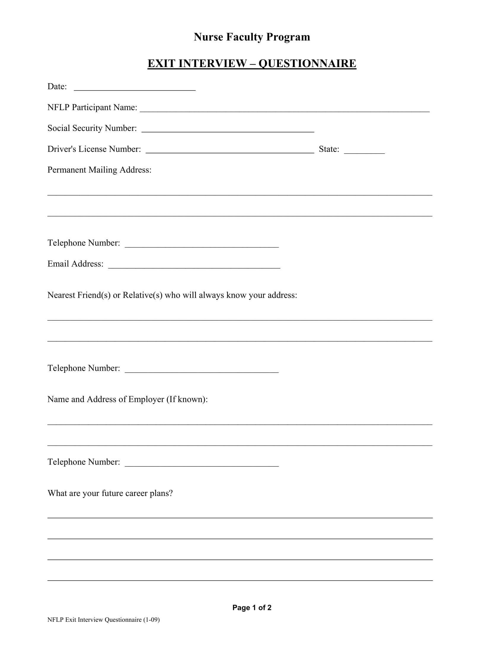 nurse faculty exit interview questionnaire example