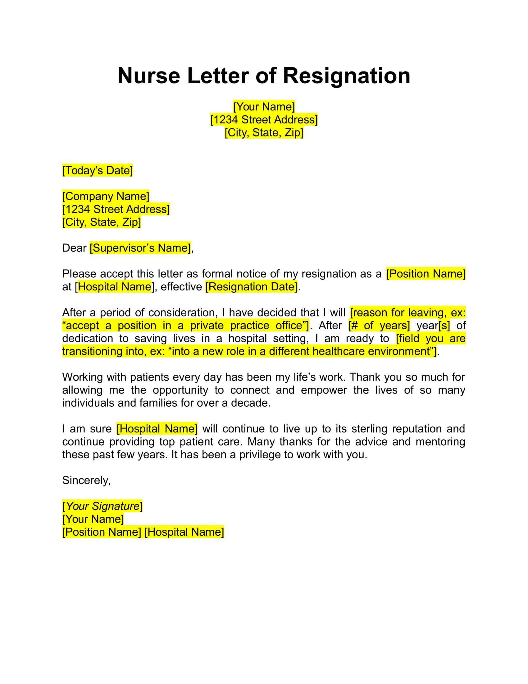 17 Free Resignation Letter Pdf Doc Examples