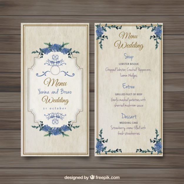 29 free wedding menu designs and examples psd ai