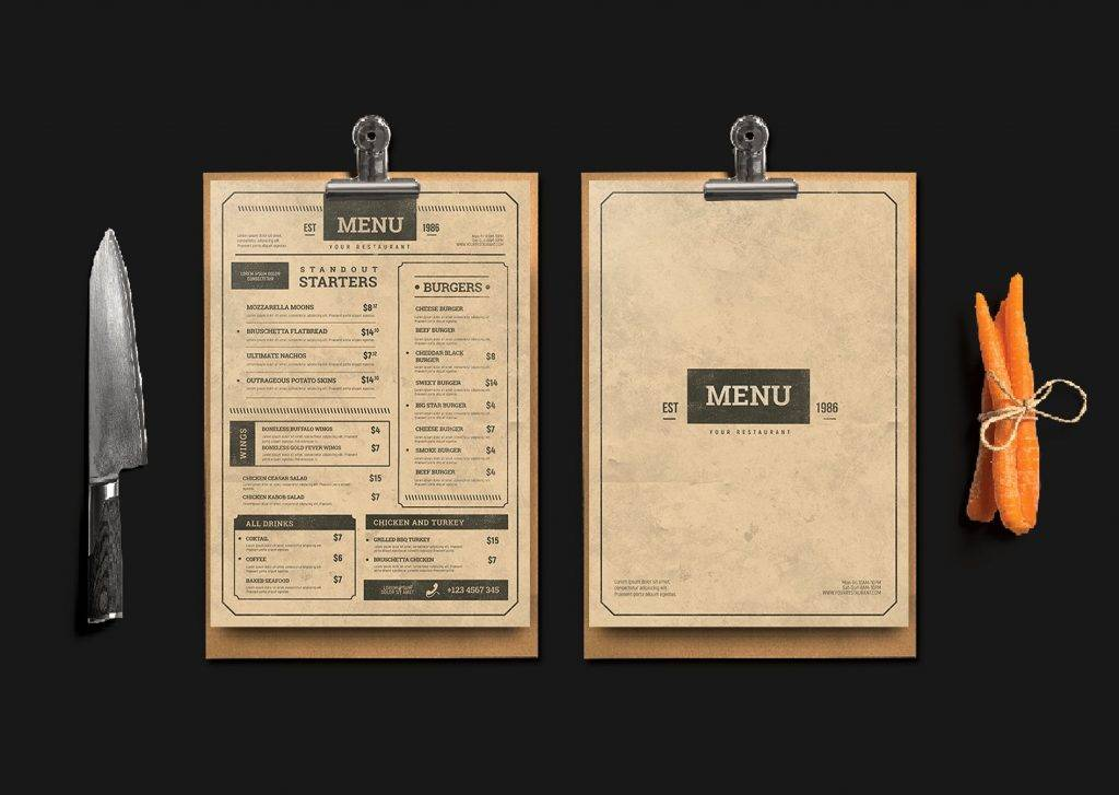 old paper menu design example 2
