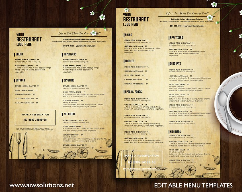 old paper menu design example