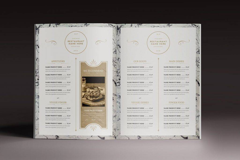 old photography restaurant menu design example