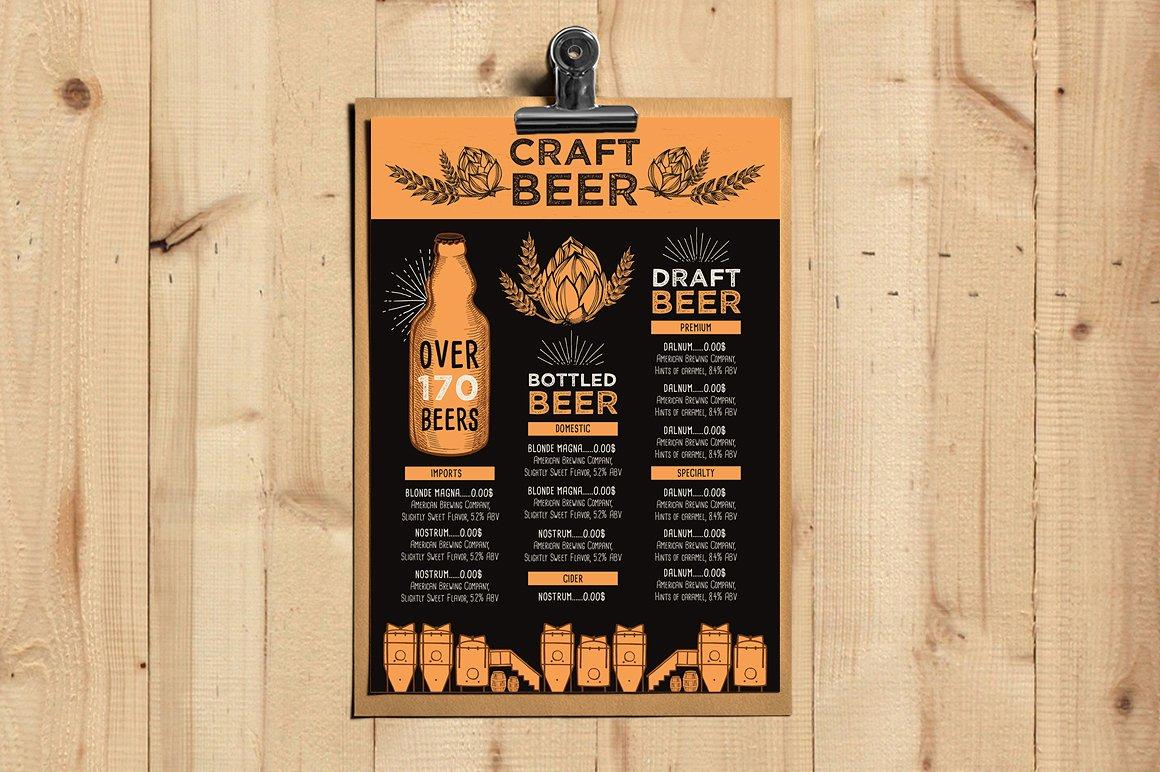 orange craft beer menu example