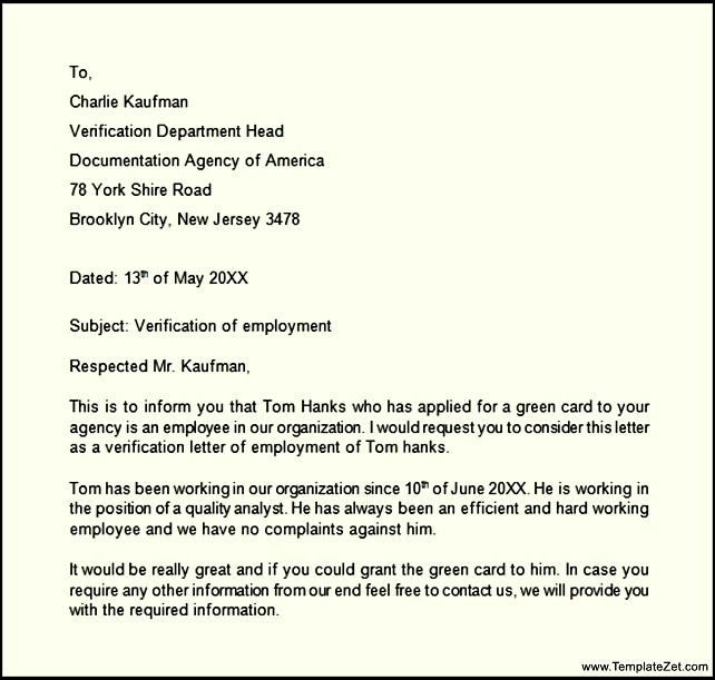 organization employment verification letter example