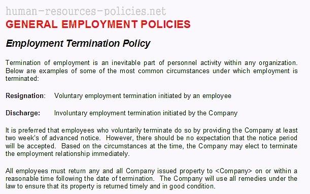 organization termination policy example