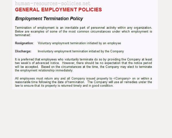 organization termination policy example1