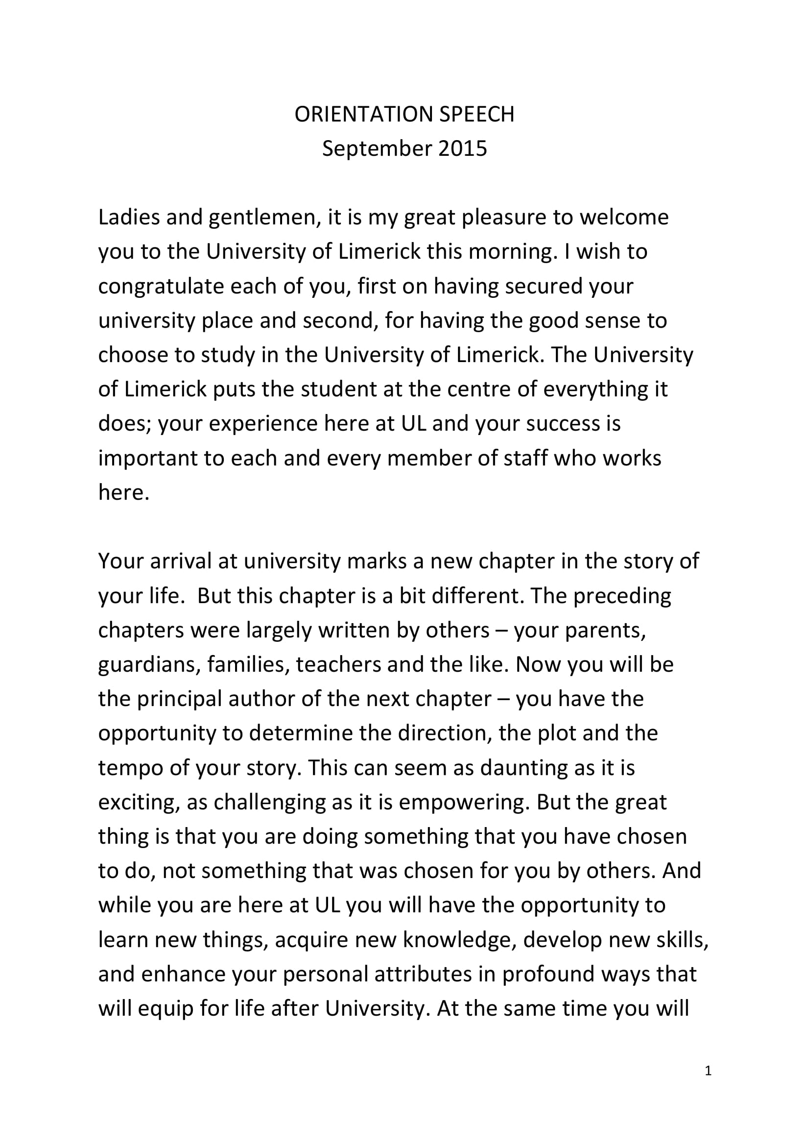 orientation welcome speech example