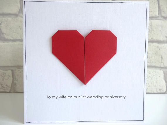 origami anniversary greeting card example