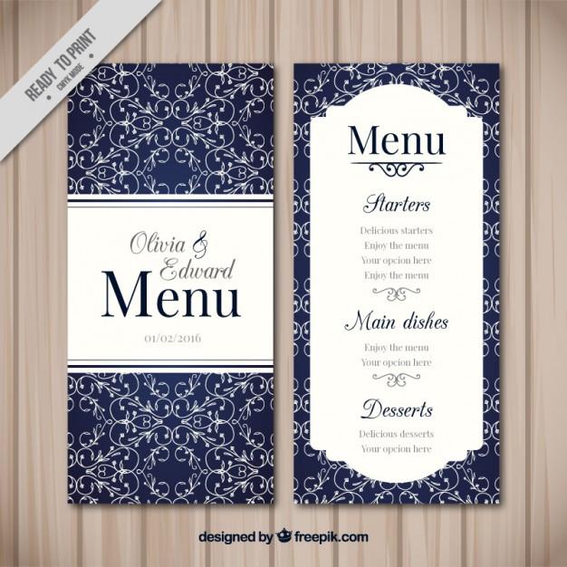 ornamental wedding menu example