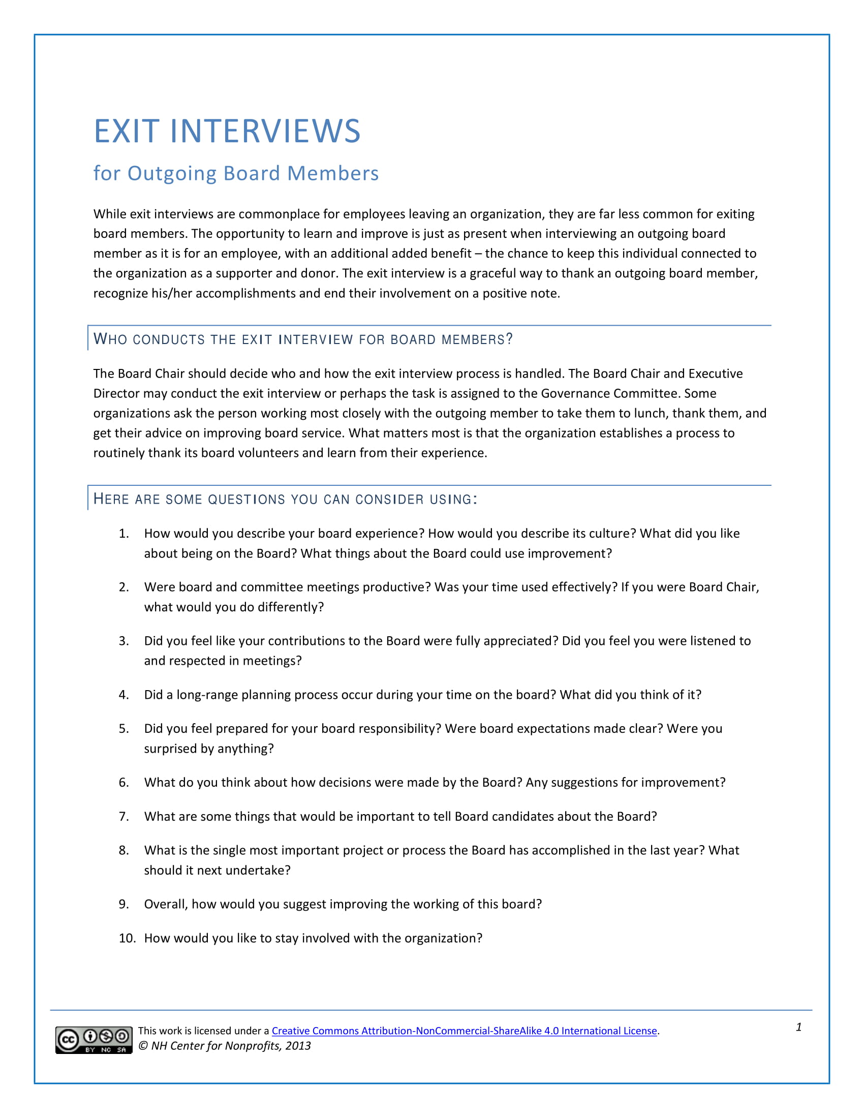 outgoing members exit interview form example
