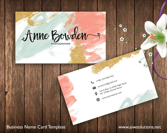 pastel colored business card example