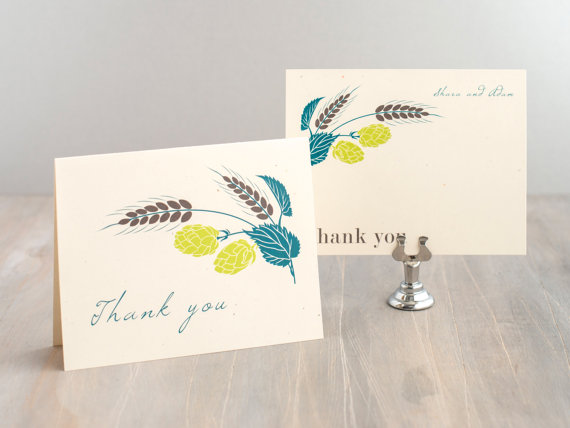 pastel colored wedding thank you card