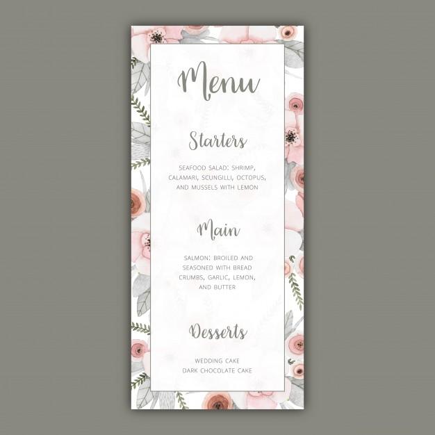 pastel flowers wedding menu example