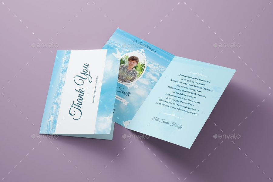 peace funeral thank you card template example