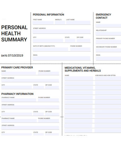 personal health summarys