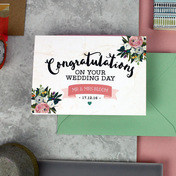 personalized cute wedding card example