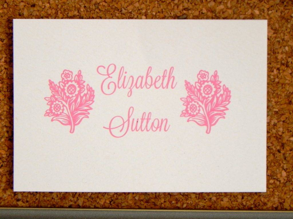 personalized flower visiting card example
