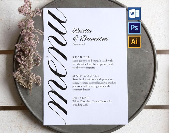 personalized wedding menu card example