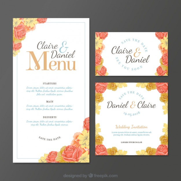 personalized wedding menu example