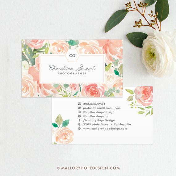 photographer floral business card design example