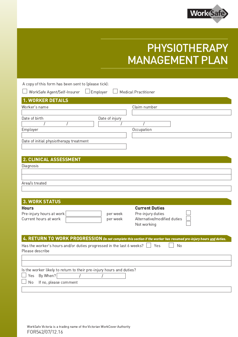 physiotherapy management plan example