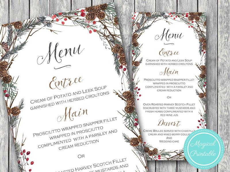pine cone holiday menu example