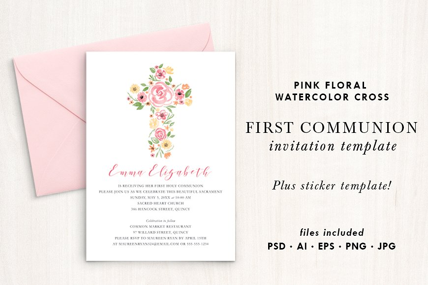 pink floral watercolor cross first communion invitation