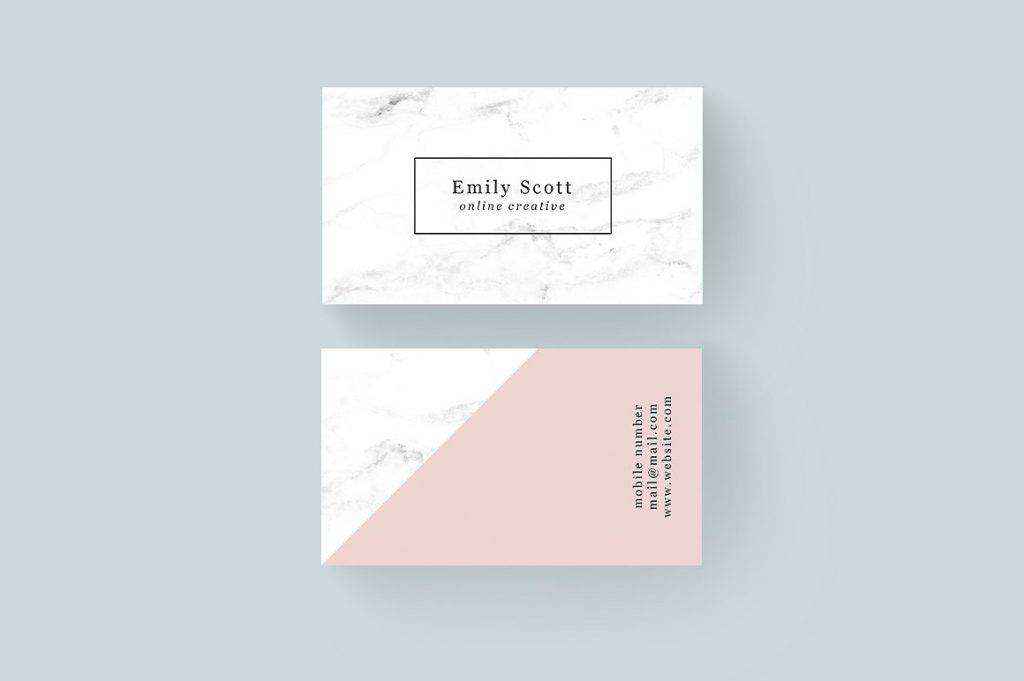 pink marble creative business card example