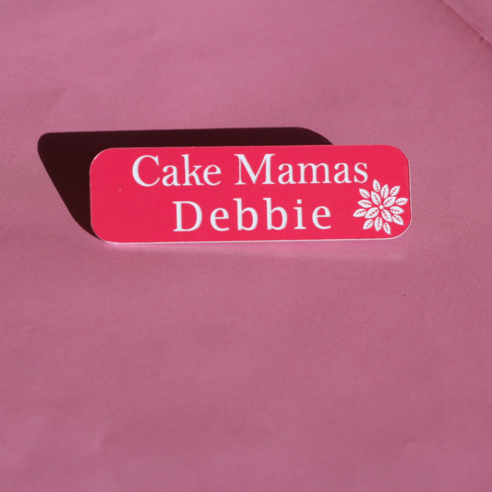 pink name badge design