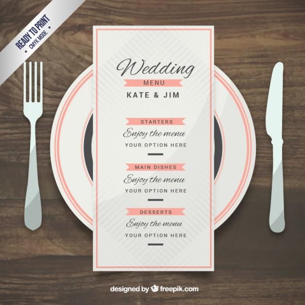 pink wedding menu example
