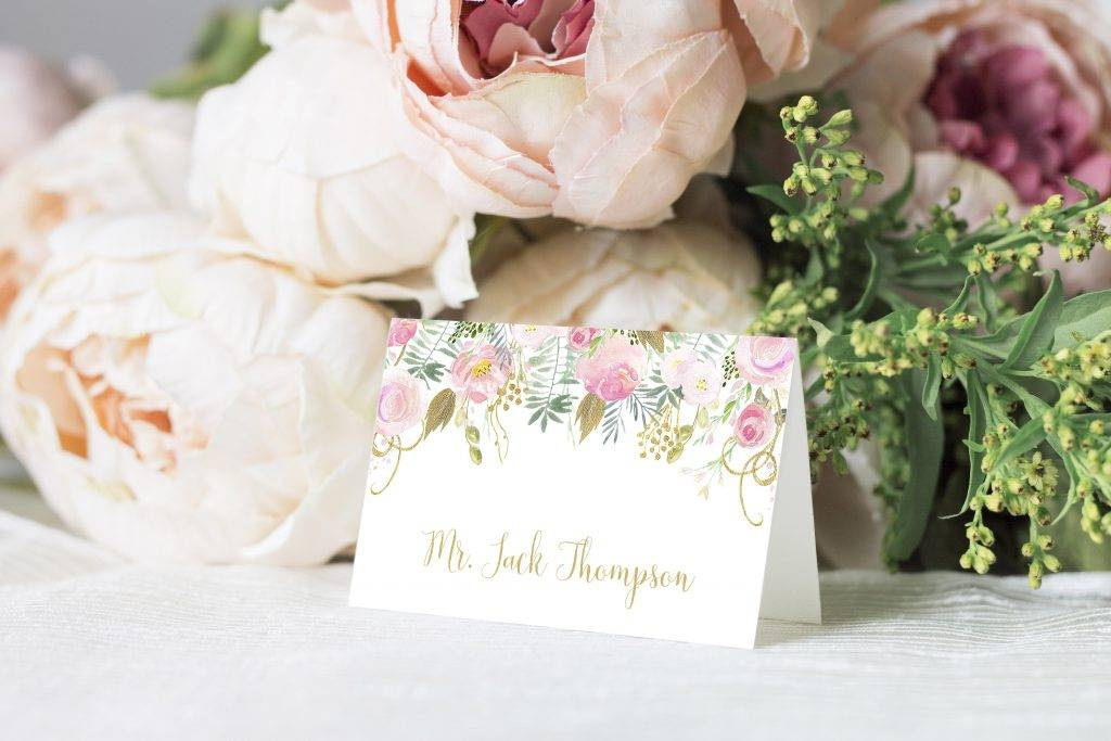 pink and gold editable place card example