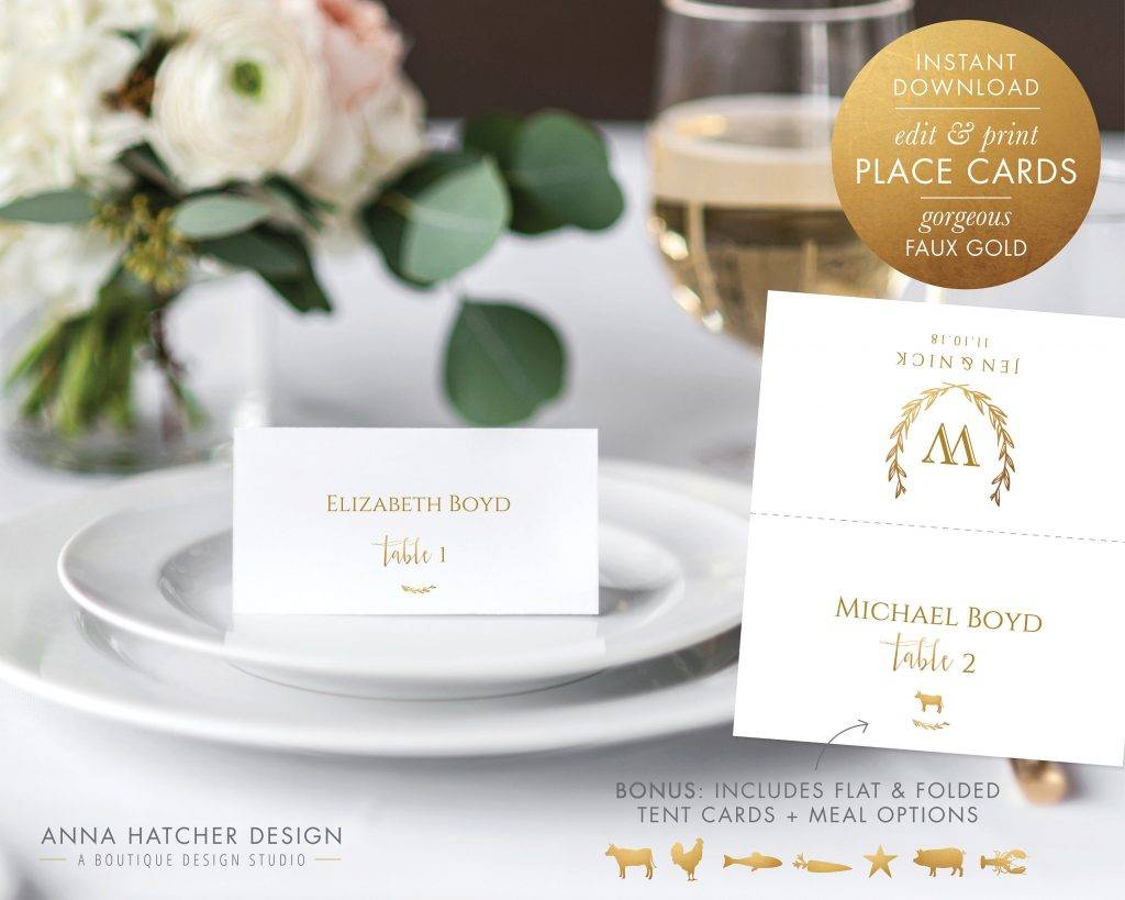 place cards or escort card example