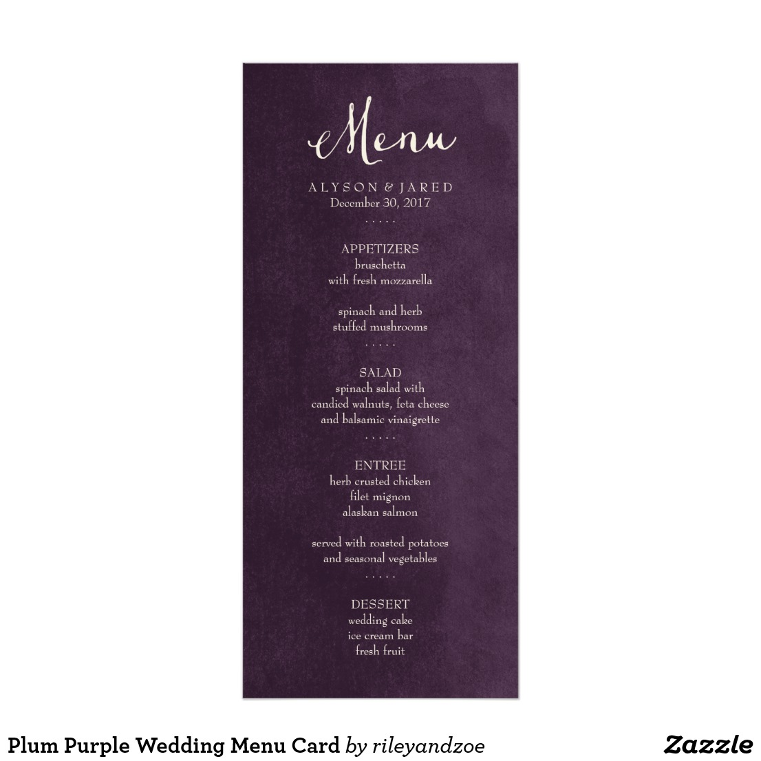 plum purple party menu example