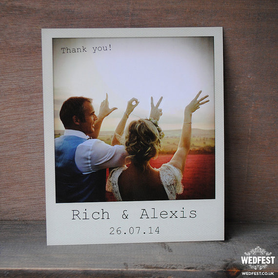 polaroid styled wedding thank you card example