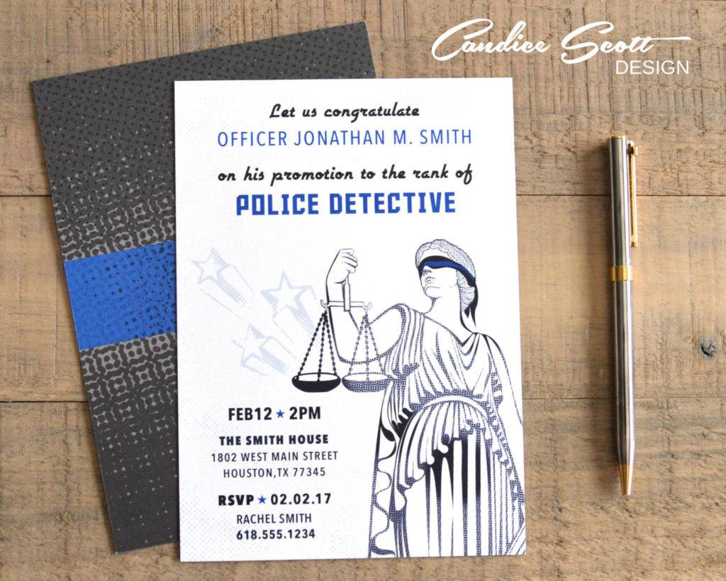 police promotion invitation and announcement example design