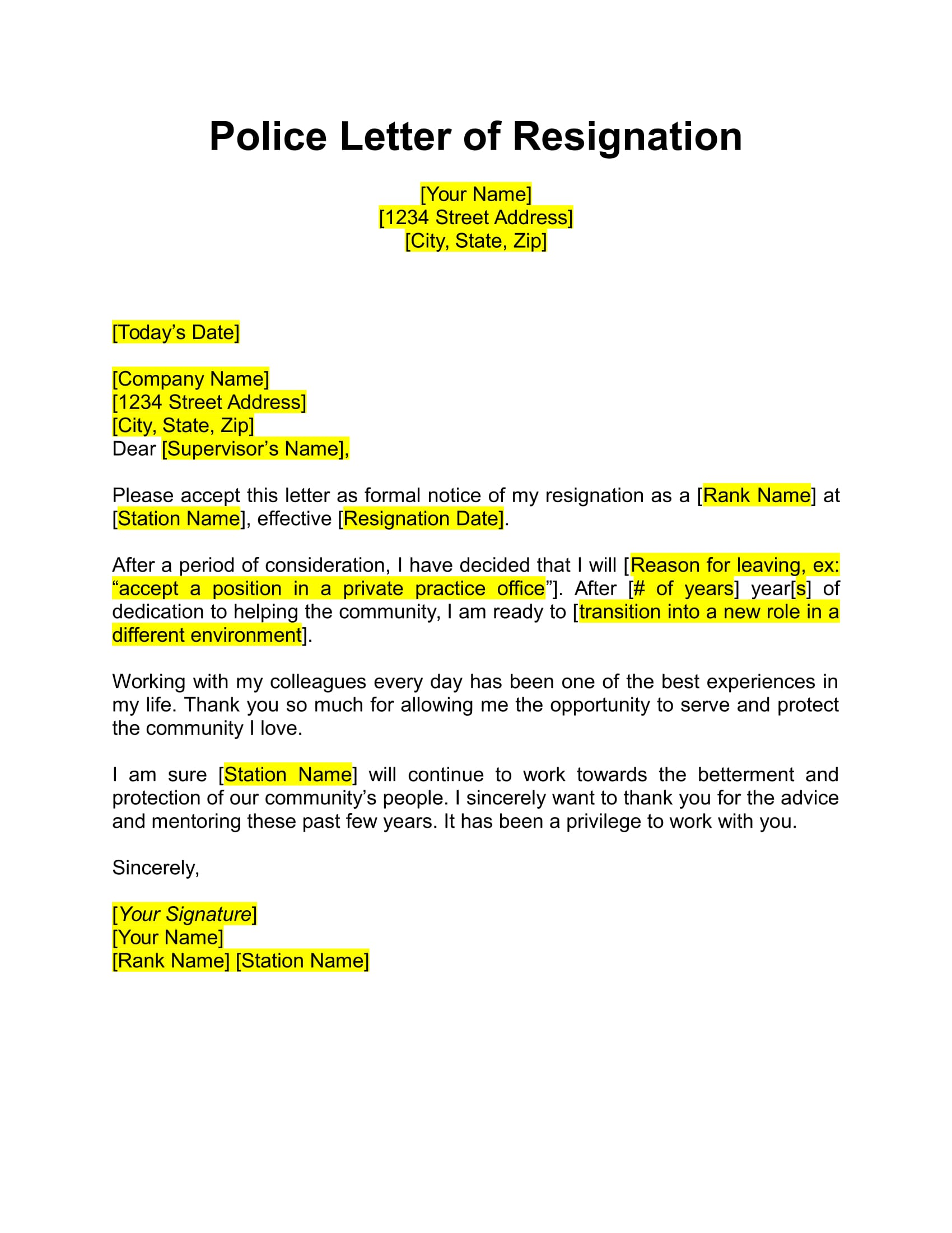 police resignation letter example