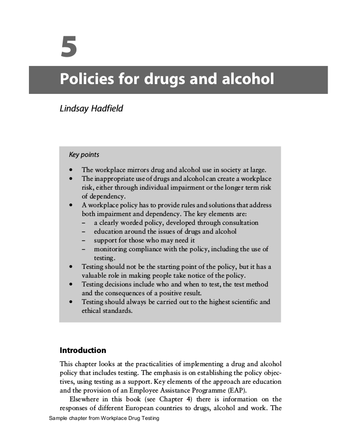 policies for drugs and alcohol example
