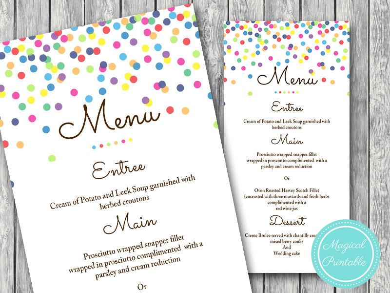 polka dots baby shower menu example