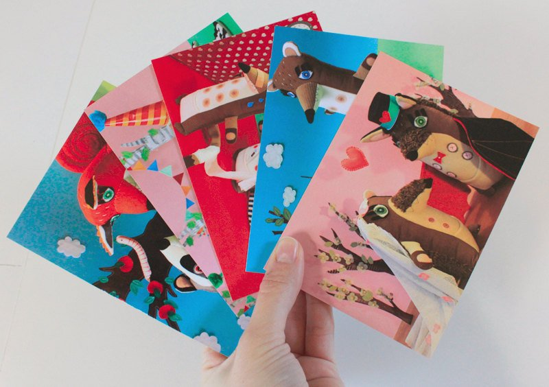 postcards with woodland animals